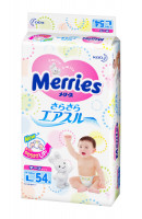 Подгузники Merries Air Through (9-14кг) 54шт